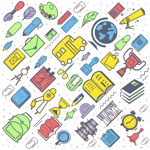 Concetto di educazione fondo della scuola con i rifornimenti di scuola disegnati a mano. di nuovo a scuola Vettore Premium