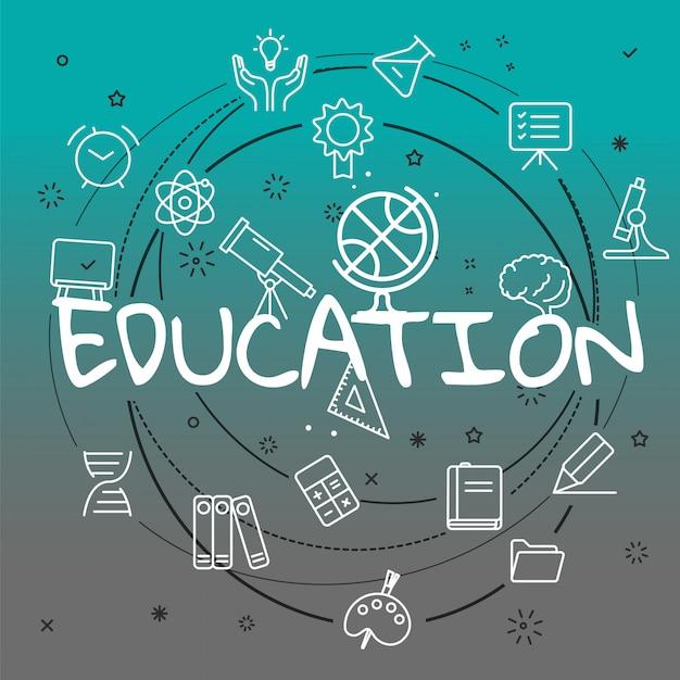 Concetto di educazione. icone differenti della linea sottile incluse Vettore Premium