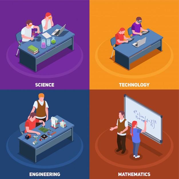 Concetto di educazione isometrica 2x2 stem con varie situazioni che coinvolgono studenti e insegnanti con didascalie di testo Vettore gratuito