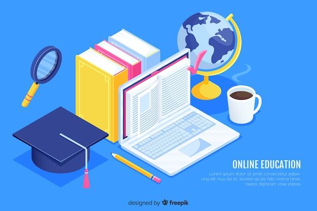 Concetto di educazione online isometrica Vettore gratuito