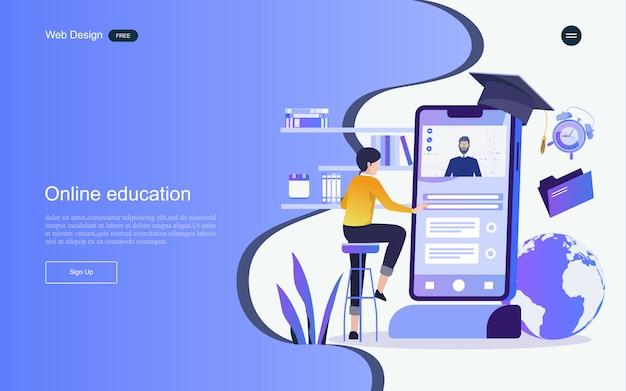 Concetto di educazione per l'apprendimento, la formazione e i corsi online. modello di pagina di destinazione. Vettore Premium