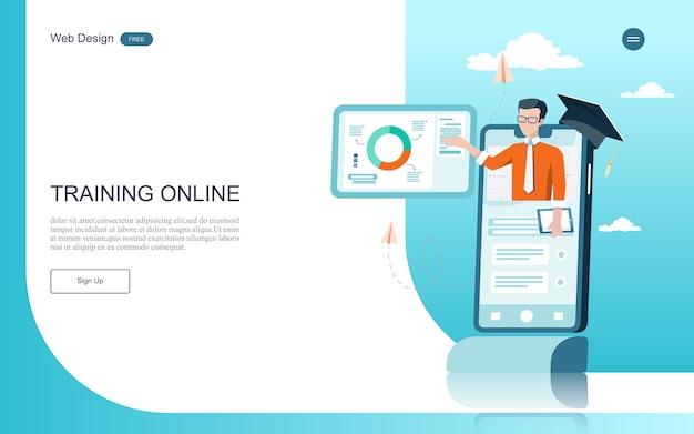 Concetto di educazione per l'apprendimento, la formazione e i corsi online. Vettore Premium