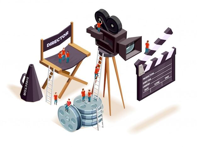 Concetto di elementi isometrici del cinema Vettore gratuito