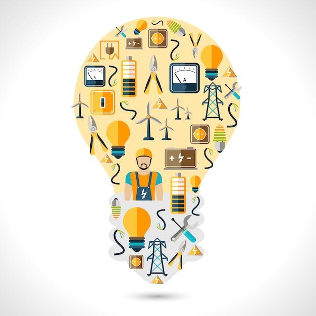 Concetto di elettricità piatta Vettore Premium