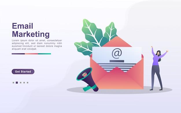 Concetto di email marketing. campagna pubblicitaria e-mail, e-marketing, raggiungendo il pubblico di destinazione con e-mail. invia e ricevi posta. può usare per landing page web, banner, app mobile. Vettore Premium