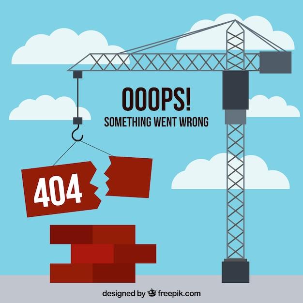 Concetto di errore 404 con gru Vettore gratuito