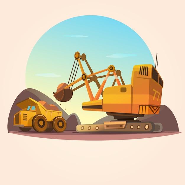 Concetto di estrazione mineraria con le macchine di industria pesante e lo stile del fumetto del camion del carbone retro Vettore gratuito