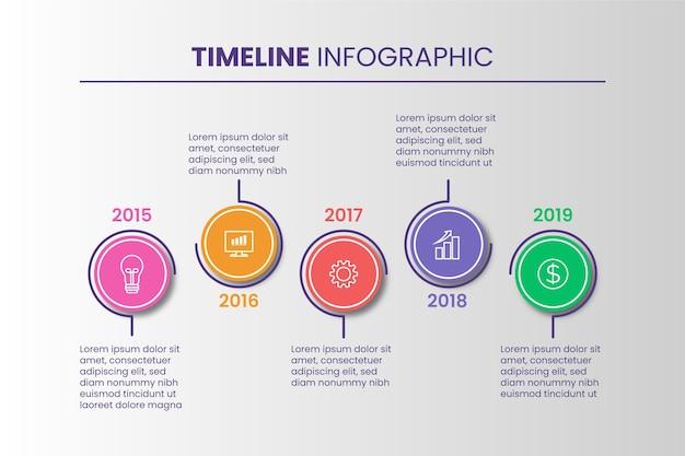 Concetto di evoluzione infografica timeline Vettore gratuito