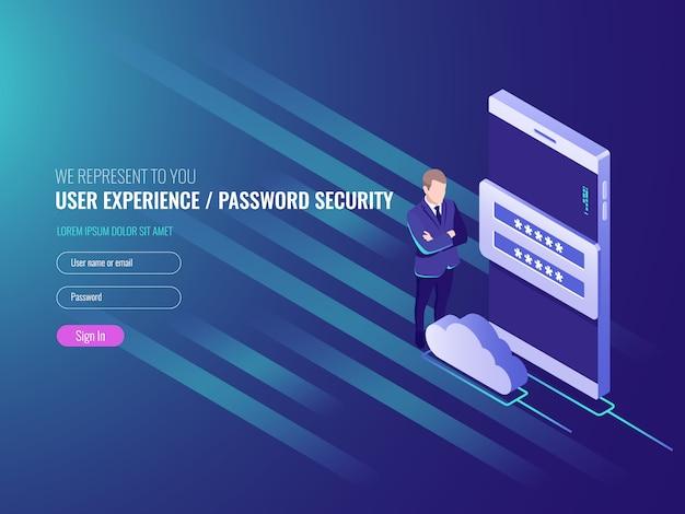 Concetto di exchenge di dati del server cloud, servizi cloud, smart watch con uomo d'affari Vettore gratuito