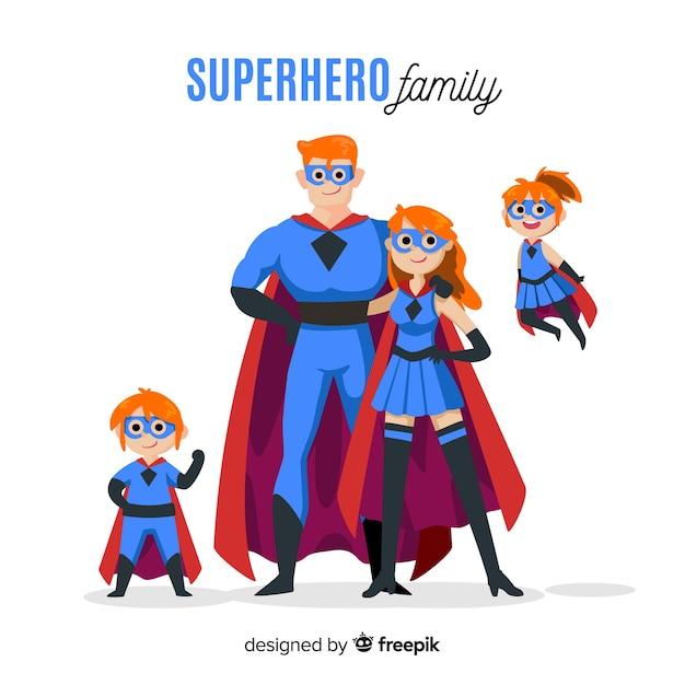 Concetto di famiglia piatto supereroe Vettore gratuito