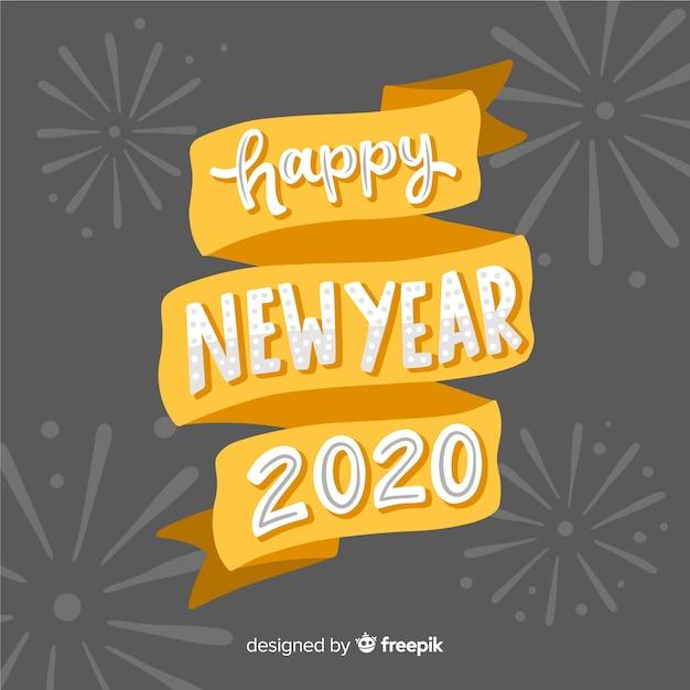 Concetto di felice anno nuovo con scritte Vettore gratuito