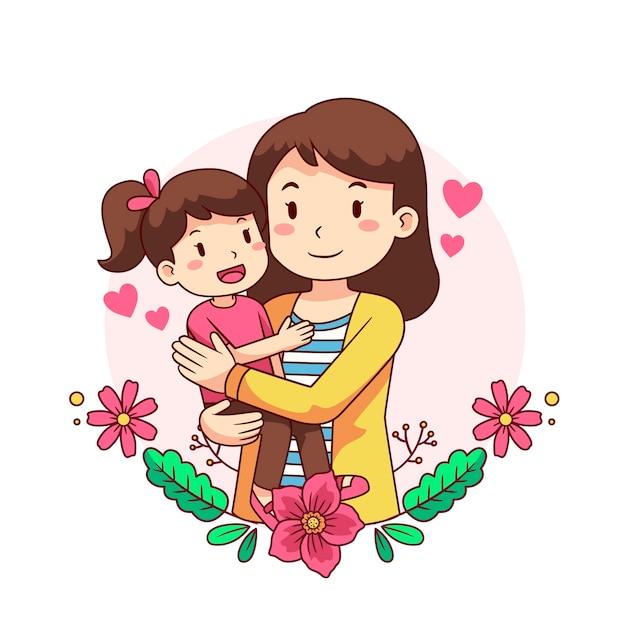 Concetto di festa della mamma disegnato a mano Vettore gratuito