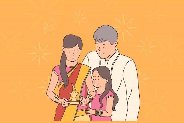 Concetto di festival diwali o deepawali. Vettore Premium