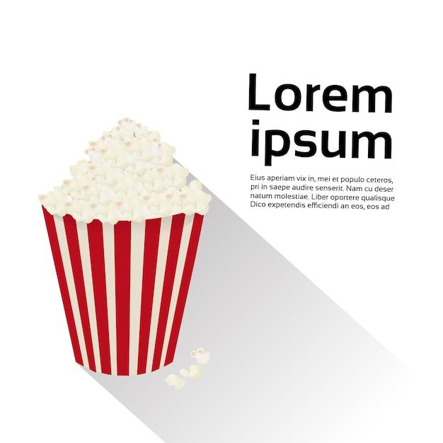 Concetto di film del cinema dell'alimento isolato contenitore di popcorn. modello di testo Vettore Premium