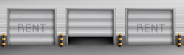 Concetto di fondo esterno con box garage in affitto, magazzini per parcheggio auto. Vettore gratuito