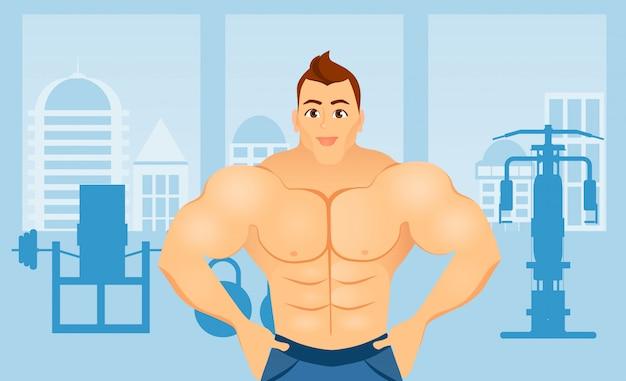 Concetto di forma fisica con l'uomo del culturista di sport. modelli muscolari atleta fisico maschile in un interno di palestra fitness Vettore Premium
