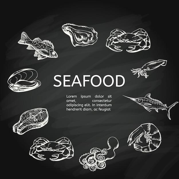 Concetto di frutti di mare sulla lavagna Vettore Premium