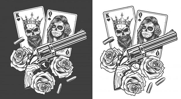 Concetto di gangsta con carta da gioco Vettore gratuito