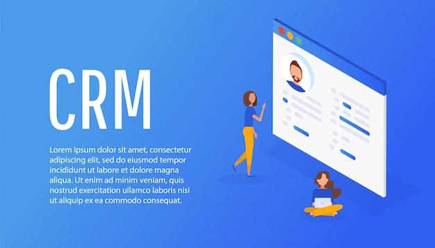 Concetto di gestione delle relazioni con i clienti. Vettore Premium
