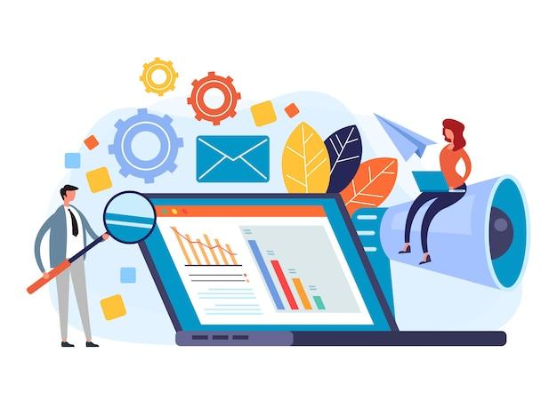 Concetto di gestione digitale pr Vettore Premium