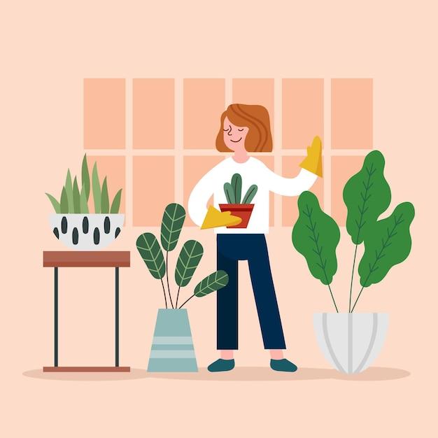 Concetto di giardinaggio a casa Vettore gratuito