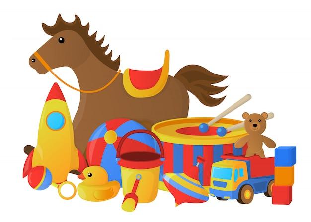 Concetto di giocattolo per bambini. stile cartone animato illustrazione vettoriale Vettore Premium