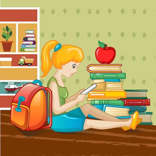 Concetto di giornata internazionale del libro, stile cartoon Vettore Premium