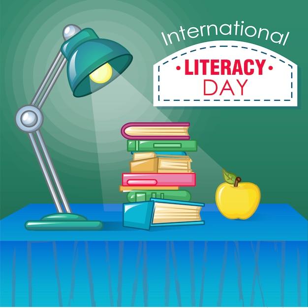 Concetto di giornata internazionale dell'alfabetizzazione, stile cartoon Vettore Premium