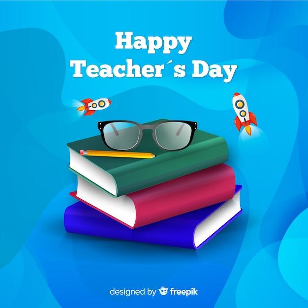 Concetto di giornata mondiale degli insegnanti con sfondo realistico Vettore gratuito