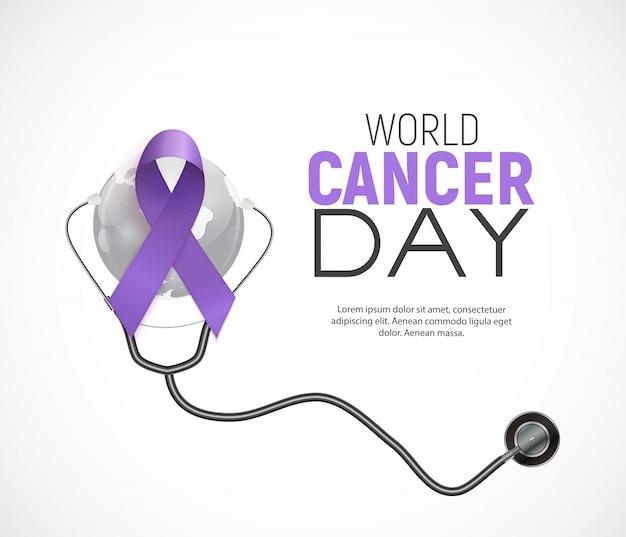 Concetto di giornata mondiale del cancro con nastro di lavanda .. Vettore Premium