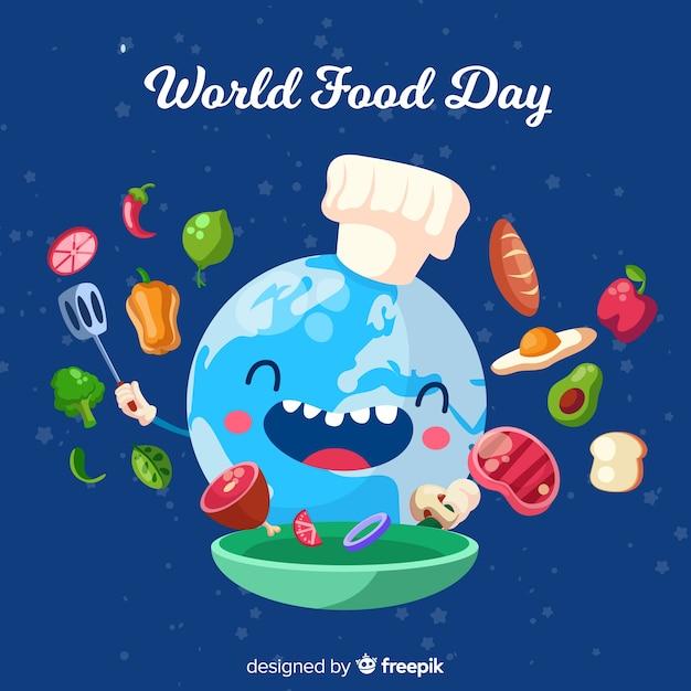 Concetto di giornata mondiale dell'alimento con sfondo design piatto Vettore gratuito
