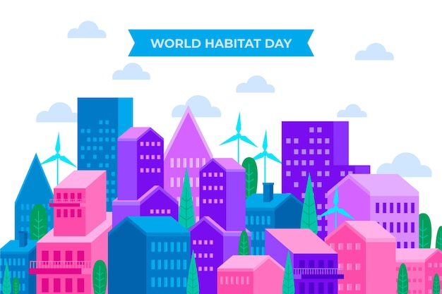 Concetto di giornata mondiale dell'habitat piatto Vettore gratuito
