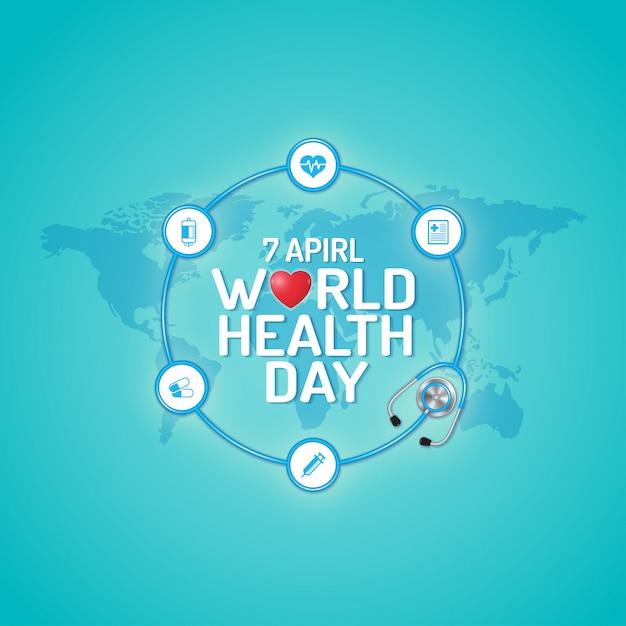 Concetto di giornata mondiale della salute per l'assistenza sanitaria e medica Vettore Premium