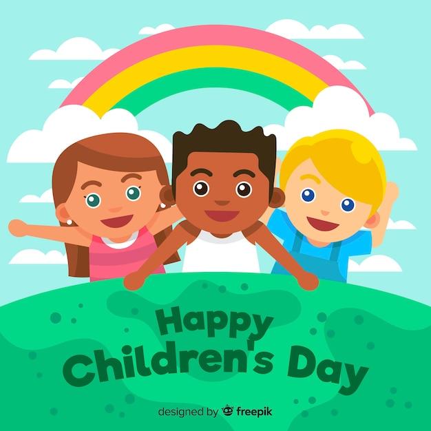 Concetto di giorno dei bambini nella progettazione piana Vettore gratuito