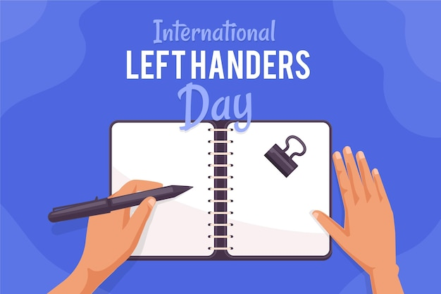 Concetto di giorno dei mancini con scrittura della mano Vettore gratuito