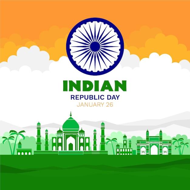 Concetto di giorno della repubblica indiana di design piatto Vettore gratuito