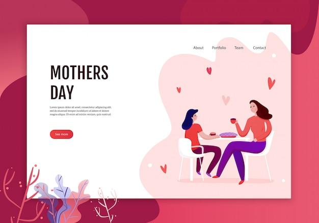 Concetto di giorno di madri dell'insegna di web con la mamma e la figlia durante il cibo dell'illustrazione festiva della torta Vettore gratuito