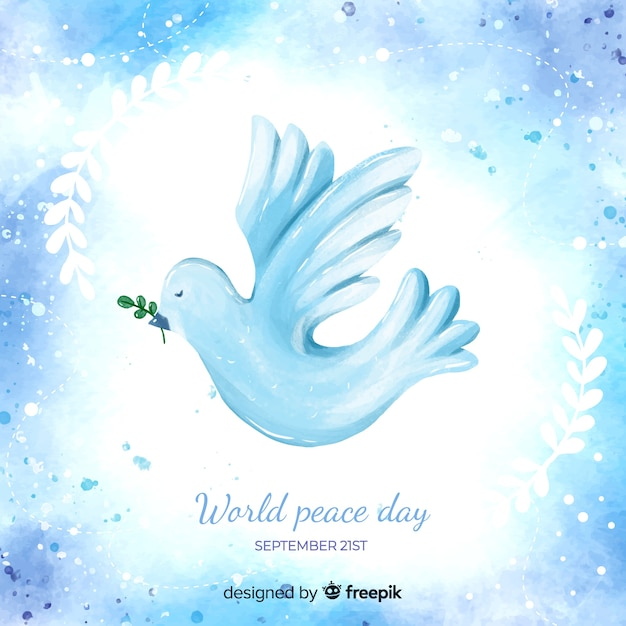 Concetto di giorno di pace con colomba dell'acquerello Vettore gratuito