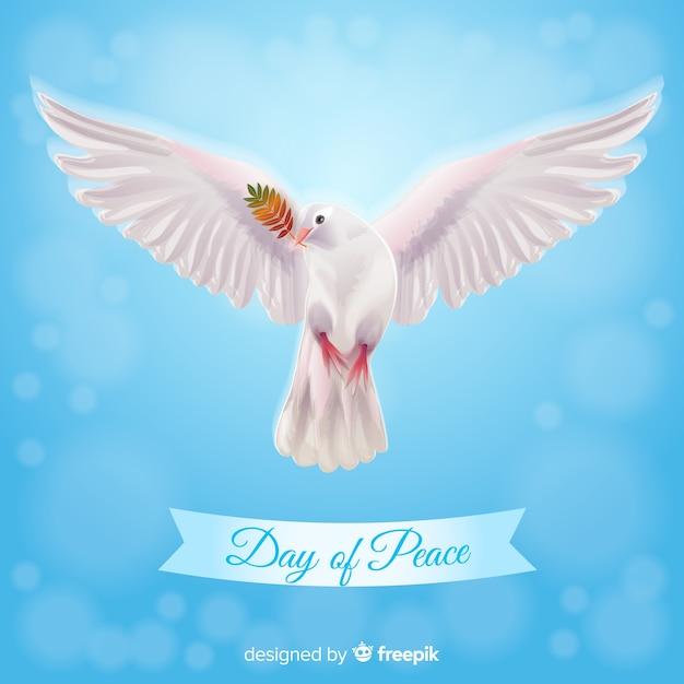 Concetto di giorno di pace con colomba realistica Vettore gratuito