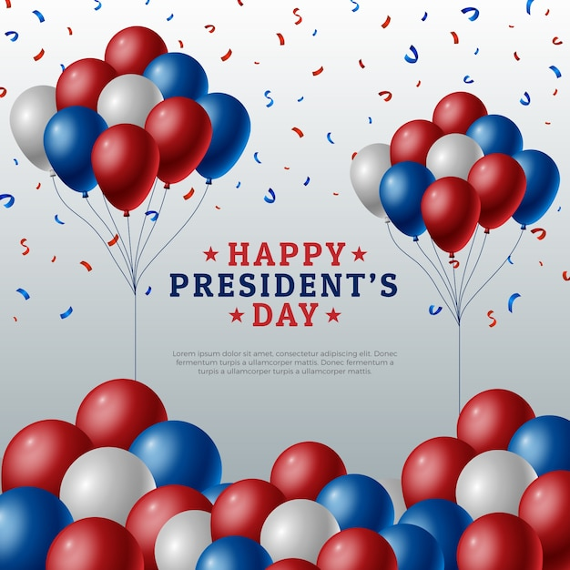 Concetto di giorno di presidenti con palloncini realistici Vettore gratuito