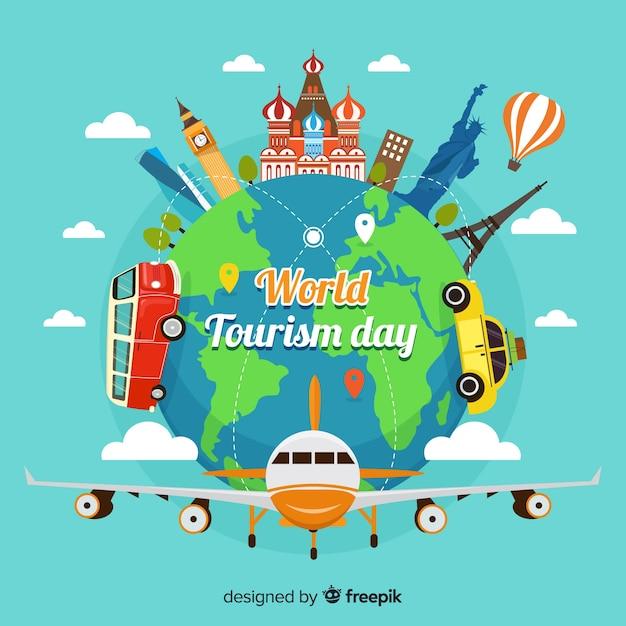 Concetto di giorno di turismo mondiale con design piatto Vettore gratuito