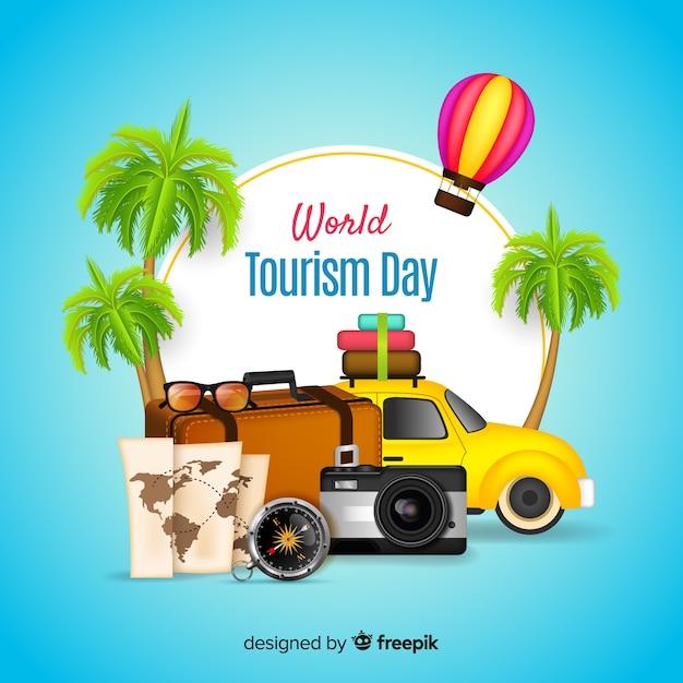 Concetto di giorno di turismo mondiale con design realistico Vettore gratuito