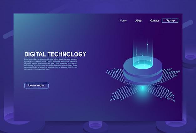 Concetto di grande centro di elaborazione dati, database cloud, stazione energetica del server del futuro. tecnologie dell'informazione digitale. Vettore Premium