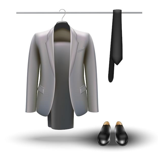 Concetto di guardaroba. elementi essenziali dell'uomo d'affari, abito grigio, cravatta e scarpe nere Vettore Premium