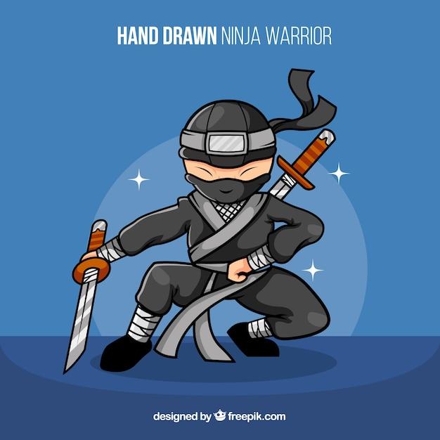 Concetto di guerriero ninja disegnato a mano Vettore gratuito