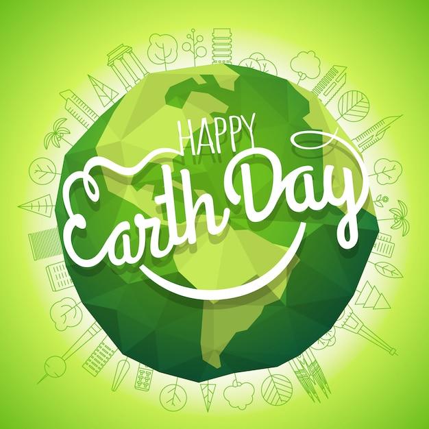 Concetto di happy earth day. logo vettoriale con il sorriso. sorridente illustrazione di terra Vettore Premium