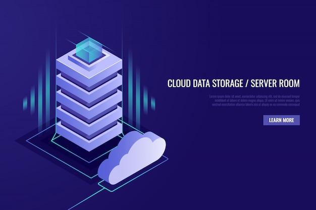 Concetto di hosting con archiviazione dati cloud e sala server. server rack con cloud. Vettore gratuito