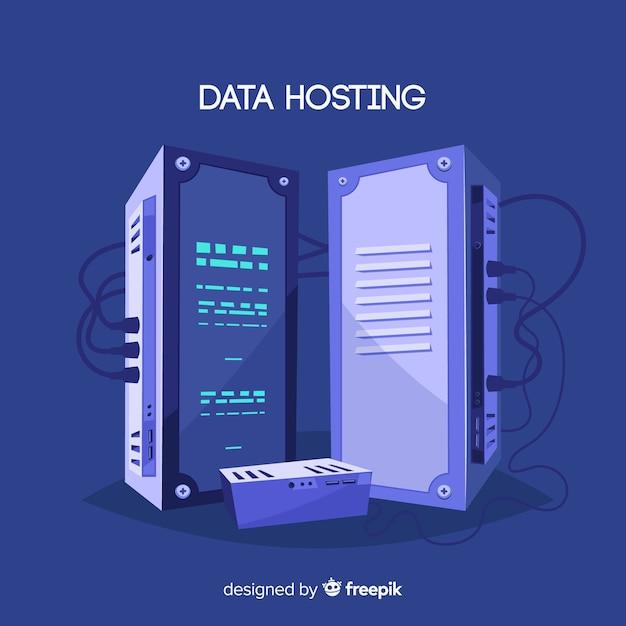 Concetto di hosting di dati creativi Vettore gratuito