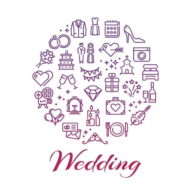 Concetto di icone di linea di nozze luminose intorno Vettore Premium