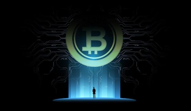 Concetto di illustrazione bitcoin. denaro digitale futuristico, concetto di rete mondiale della tecnologia. piccolo uomo guarda un enorme ologramma futuristico. Vettore Premium